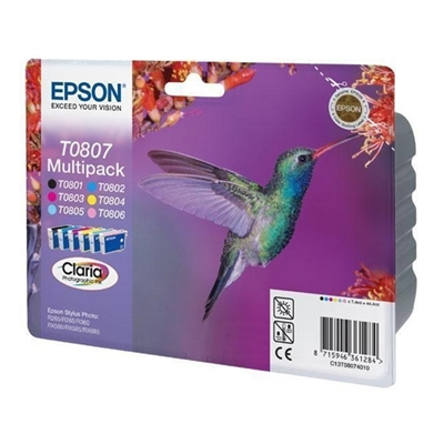 Εικόνα της Πακέτο 6 Μελανιών Epson T0807 Black, Cyan, Magenta, Yellow, Light Cyan & Light Magenta C13T080740