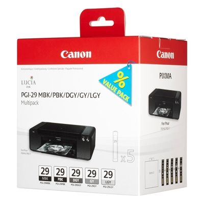 Εικόνα της Πακέτο 5 Μελανιών Canon PGI-29MPCK Matte Black, Photo Black, Grey, Dark Grey & Light Grey 4868B005