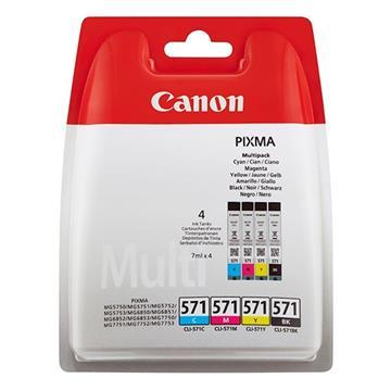 Εικόνα της Πακέτο 4 Μελανιών Canon CLI-571 Black, Cyan, Magenta και Yellow 0386C005