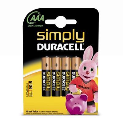 Εικόνα της Αλκαλικές Μπαταρίες AAA 1.5V Duracell Simply 4 Τεμ (LR3) 81360782