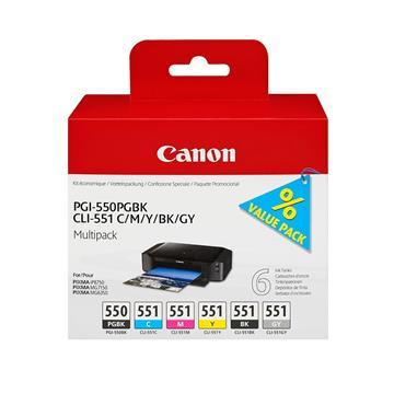 Εικόνα της Πακέτο 6 Μελανιών Canon PGI-550BK και CLI-551 BK,C,M,Y,GY 6496B005