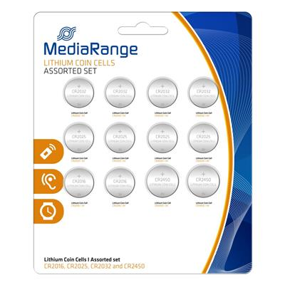 Εικόνα της Μπαταρίες Λιθίου MediaRange Coin Cells Assorted Set, 3V, CR2016,CR2025,CR2032,CR2450, 12 Pack MRBAT139