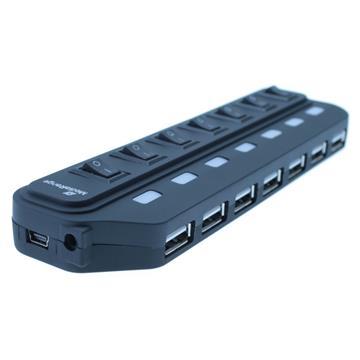 Εικόνα της USB Hub MediaRange 7-Port Usb 2.0 Black MRCS504