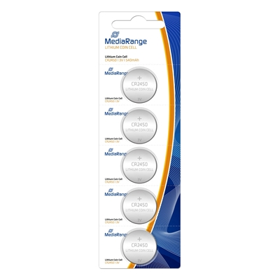 Εικόνα της Μπαταρίες Λιθίου MediaRange Coin Cells CR2450, 3V, 5 Pack MRBAT138