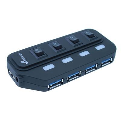 Εικόνα της USB Hub MediaRange 4-Port Usb 3.0 Black MRCS505