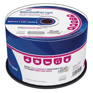Εικόνα της CD-R 700MB 80' Inkjet Fullsurface Printable 52x MediaRange Cake Box 50 Τεμ MR208