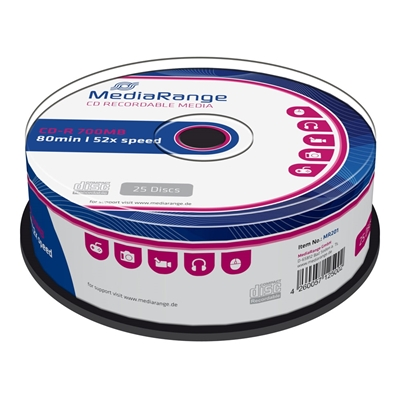 Εικόνα της CD-R 700MB 80' 52x MediaRange Cake Box 25 Τεμ MR201