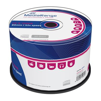 Εικόνα της CD-R 700MB 80' 52x MediaRange Cake Box 50 Τεμ MR207