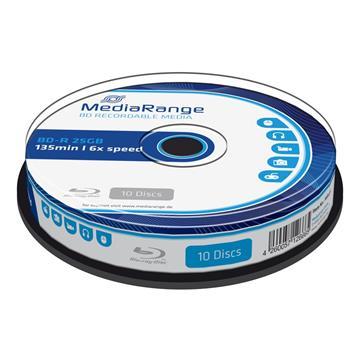 Εικόνα της BD-R Blu-Ray 25GB 6x MediaRange Cake Box 10 Τεμ MR499