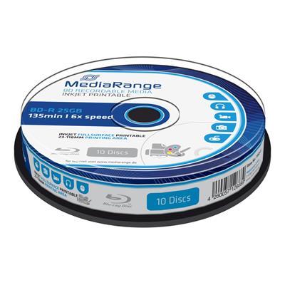 Εικόνα της BD-R Blu-Ray 25GB Inkjet Fullsurface Printable 6x MediaRange Cake Box 10 Τεμ MR500