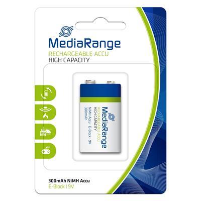 Εικόνα της Επαναφορτιζόμενες Μπαταρίες MediaRange High Capacity NiMH, E-Block, 300mAh, 9V, HR22, 1 τεμ MRBAT124