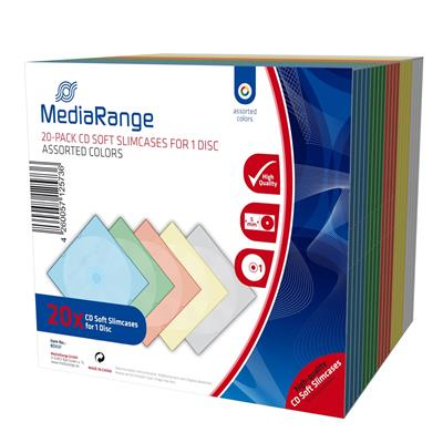 Εικόνα της MediaRange CD Soft Slimcase for 1 Disc 5.0mm Colours Tray 20 Pack BOX37