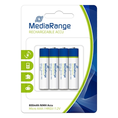 Εικόνα της Επαναφορτιζόμενες Μπαταρίες MediaRange NiMH AAA 800mAh 1.2V HR03 4 Pack MRBAT120