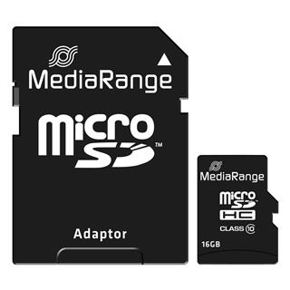 Εικόνα της Κάρτα Μνήμης MicroSDHC Class 10 MediaRange 16GB with SD Adapter MR958