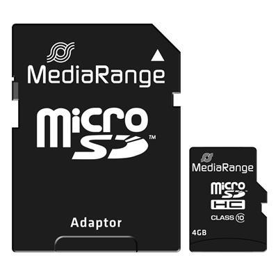 Εικόνα της Κάρτα Μνήμης MicroSDHC Class 10 MediaRange 4GB with SD Adapter MR956
