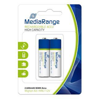 Εικόνα της Επαναφορτιζόμενες Μπαταρίες MediaRange High Capacity NiMH, AA, 2.600mAh, 1.2V, HR6, 2 Pack MRBAT123