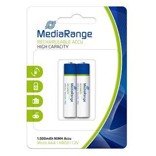 Εικόνα της Επαναφορτιζόμενες Μπαταρίες MediaRange High Capacity NiMH, AAA, 1.000mAh, 1.2V, HR03, 2 Pack MRBAT122