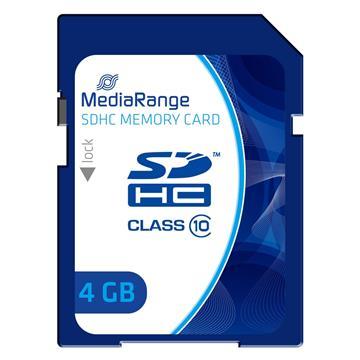 Εικόνα της Κάρτα Μνήμης SDHC Class 10 MediaRange 4GB MR961