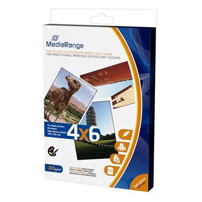 Εικόνα της Φωτογραφικό Χαρτί MediaRange A6 High-Glossy 220g/m² 50 Φύλλα MRINK104
