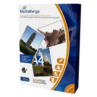 Εικόνα της Φωτογραφικό Χαρτί MediaRange A4 High-Glossy 220g/m² 100 Φύλλα MRINK103
