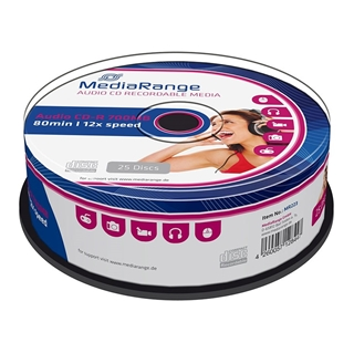 Εικόνα της CD-R 700MB 80' 12x Audio MediaRange Cake Box 25 Τεμ MR223