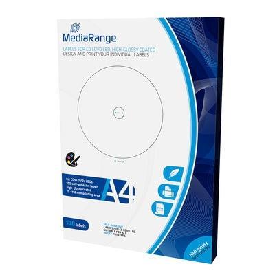 Εικόνα της MediaRange Labels for CD/DVD/BD 15-118mm High-Glossy 100 Pack MRINK132