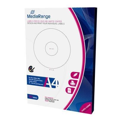 Εικόνα της MediaRange Labels for CD/DVD/BD 41-118mm Matte 100 Pack MRINK131