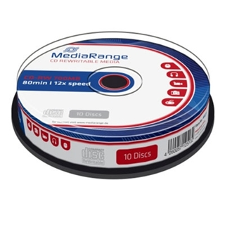 Εικόνα της CD-RW 700MB 80' 12x Rewritable MediaRange Cake Box 10 Τεμ MR235