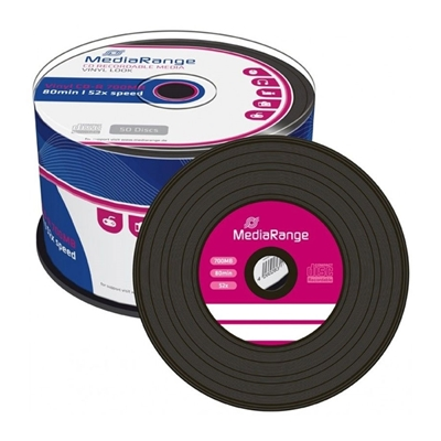Εικόνα της Vinyl Black Dye CD-R 700MB 80' 52x MediaRange Cake Box 50 Τεμ MR225