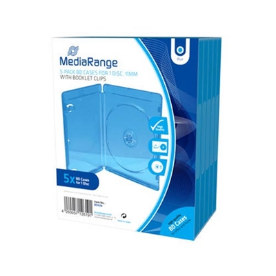Εικόνα της MediaRange BD Case for 1 Disc 11mm Blue 5 Pack BOX38
