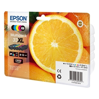 Εικόνα της Πακέτο 5 Μελανιών Epson 33XL Black, Cyan, Magenta, Yellow, Photo Black C13T33574010