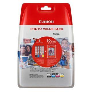 Εικόνα της Πακέτο 4 Μελανιών Canon CLI-571VP C/M/Y/BK και 50 φύλλα PP-201 10x15cm 0386C006