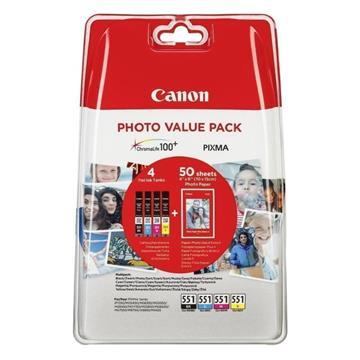 Εικόνα της Πακέτο 4 Μελανιών Canon CLI-551VP C/M/Y/BK και 50 φύλλα PP-201 10x15cm 6508B005