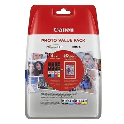 Εικόνα της Πακέτο 4 Μελανιών Canon CLI-551XLVP C/M/Y/BK και 50 φύλλα PP-201 10x15cm 6443B006