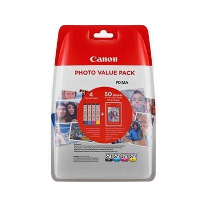 Εικόνα της Πακέτο 4 Μελανιών Canon CLI-571XLVP C/M/Y/BK και 50 φύλλα PP-201 10x15cm 0332C005