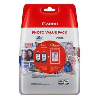 Εικόνα της Πακέτο 2 Μελανιών Canon PG-545XL & CL-546XL Black,Colour & 50 φύλλα GP-501 10x15cm 8286B006