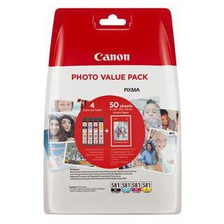 Εικόνα της Πακέτο 4 Μελανιών Canon CLI-581VP C/M/Y/BK και 50 φύλλα PP-201 10x15cm 2106C005