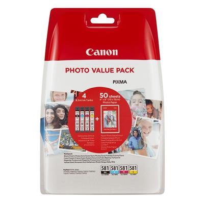 Εικόνα της Πακέτο 4 Μελανιών Canon CLI-581XLVP C/M/Y/BK και 50 φύλλα PP-201 10x15cm 2052C004