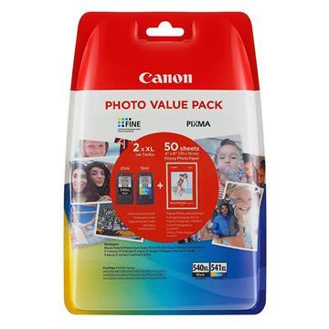 Εικόνα της Πακέτο 2 Μελανιών Canon PG-540XL & CL-541XL Black,Colour & 50 φύλλα GP-501 10x15cm 5222B013