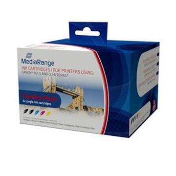 Εικόνα της Πακέτο 5 Συμβατών Μελανιών Mediarange για Εκτυπωτές Canon PGI-5, CLI-8 MRCP5C8