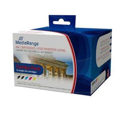 Εικόνα της Πακέτο 5 Συμβατών Μελανιών Mediarange για Εκτυπωτές Canon PGI-520, CLI-521 MRCP520C521