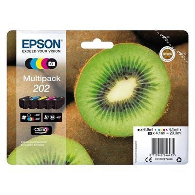 Εικόνα της Πακέτο 5 Μελανιών Epson 202 Black, Cyan, Magenta, Yellow, Photo Black C13T02E74020