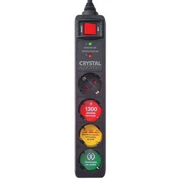 Εικόνα της Πολύπριζο Ασφαλείας 4 Θέσεων Crystal Audio 1300J 70dB Black CP4-1300-70