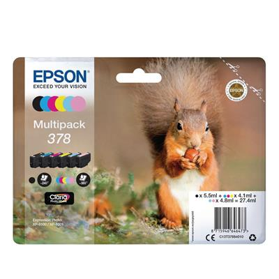 Εικόνα της Πακέτο 6 Μελανιών Epson 378 Black, Cyan, Magenta, Yellow, Light Cyan & Light Magenta C13T37884010