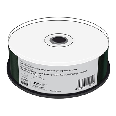 Εικόνα της CD-R 800MB 90' Inkjet Fullsurface Printable 48x MediaRange Cake Box 25 Τεμ MR242