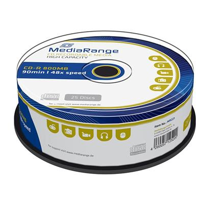 Εικόνα της CD-R 800MB 90' 48x MediaRange Cake Box 25 Τεμ MR221