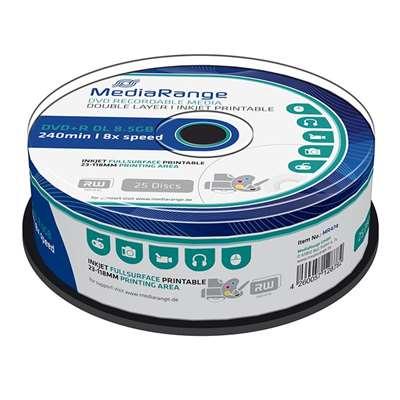Εικόνα της DVD+R Dual Layer Fullsurface Printable 8.5GB 240' 8x MediaRange Cake Box 25 Τεμ MR474