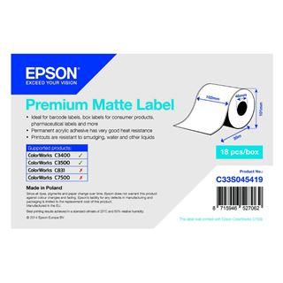 Εικόνα της Ετικέτες Epson Premium Matte Ticket - Continuous Roll 102mm x 35m C33S045419