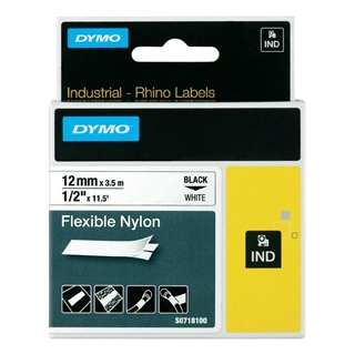Εικόνα της Ετικέτες Dymo Rhino Flexible Nylon Tape 12mm x 3.5m Black on White 18758 S0718100