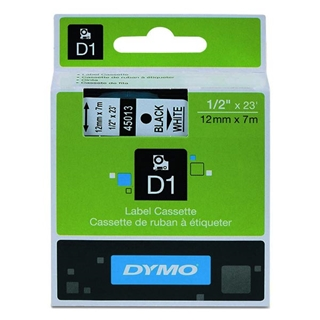 Εικόνα της Ετικέτες Dymo D1 Standard 12mm x 7m White On Black 45021 S0720610